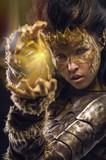 Woman in golden fantasy armour
