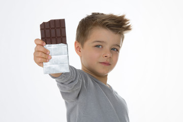 young kid happy with his sweet