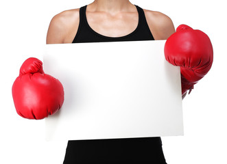 bust of a woman boxer with a white panel