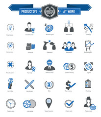 Productive at work icons on white background,blue series