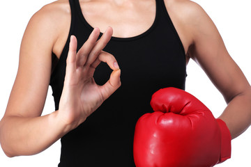 woman boxer doing okay sign