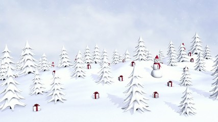 New Year trees, snowmen and gifts with falling snowflakes