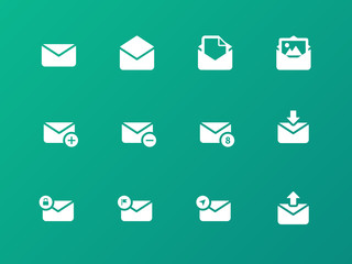 Email icons on green background.