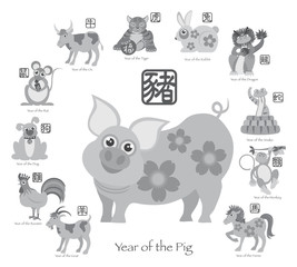 Chinese New Year Pig with Twelve Zodiacs Illustration
