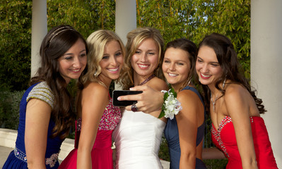 Beautiful Prom Girls Taking a Selfie