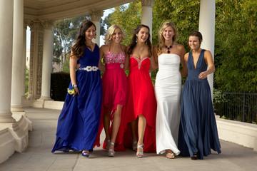 Prom Girls Walking Outside