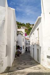 view of a street in frigiliana, pueblo blanco, spain