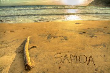 samoa writing at sunset