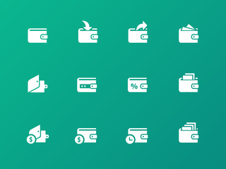 Wallet icons on green background