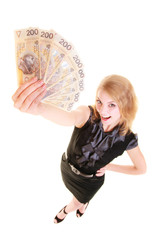 Business woman holding polish currency money banknote.