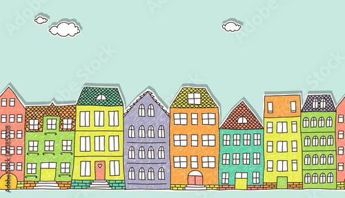 Horizontal seamless doodle houses pattern © zsooofija