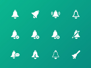 Alarm bell icons on green background.