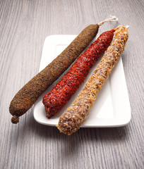 spanish spicy sausages fuet
