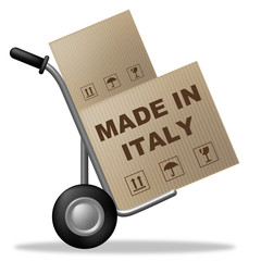 Made In Italy Represents Shipping Box And Cardboard