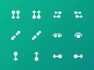 Simple touch pad gestures icons on green background.