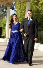 Prom Couple Walking Outdoors