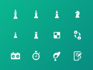 Chess strategy icons on green background.