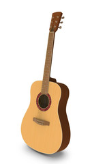 3D model of acoustic guitar on white background