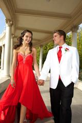 Teenage Prom Couple Walking