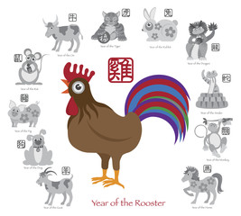Chinese New Year Rooster Color with Twelve Zodiacs Illustration