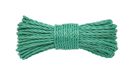 Green rope bunched isolated on white background