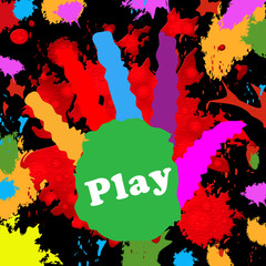 Play Handprint Represents Free Time And Kids