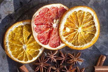 Dry grapefruit and orange slices