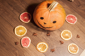 Halloween pumpkin and dry fruits