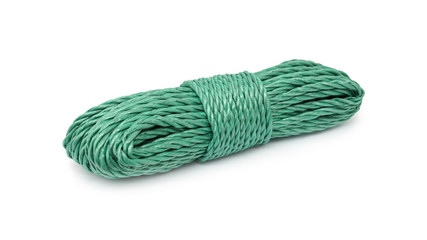 Green rope bunched on white background