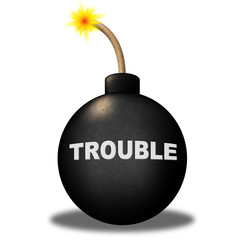 Trouble Alert Means Stumbling Block And Advisory