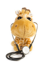 Plush toy giraffe smiling with stethoscope