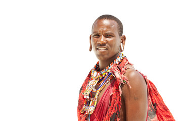 Portrait of young warrior massai man isolated on white backgroun