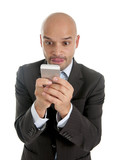 businessman using mobile phone in internet addiction concept poster