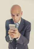 businessman using compulsively phone internt mobile addiction poster