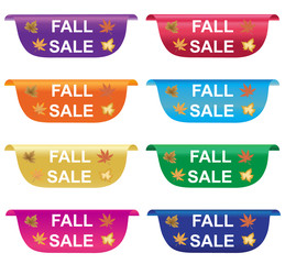 Fall sale sticker, price tag, label