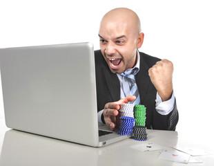 gambling addict man winning money online poker chips