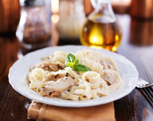 fettuccine alfredo with grilled chicken dinner