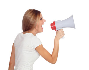 Blonde woman shouting with a megaphone