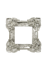 Vintage sliver picture frame isolated with clipping path.
