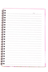 Blank Spiral Notebook with Line Paper Isolated on a White Backgr