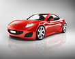 3D Image of Red Sport Car