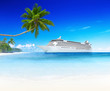 3D Image of Cruise Ship on the Sea