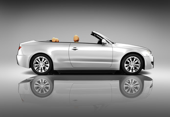 3D Image of Silver Convertible Car
