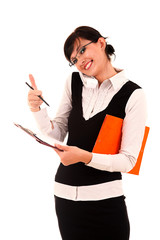 Successful young businesswoman with clipboard and thumb up
