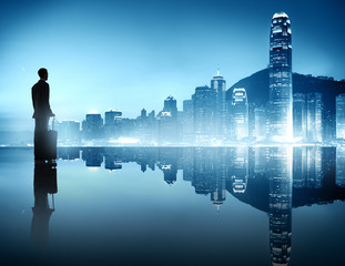 Silhouette of Business Person in Urban Scene