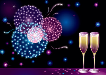 New year fireworks. Vector background with Champagne Flutes