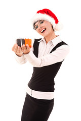Christmas businesswoman with gift boxes, white background