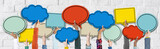 Fototapety Group of Hands Holding Speech Bubbles