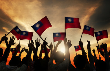 Group of People Waving Taiwanese Flags