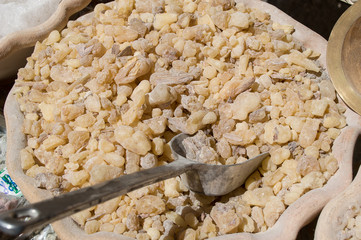 Myrrh resin in a ceramic container
